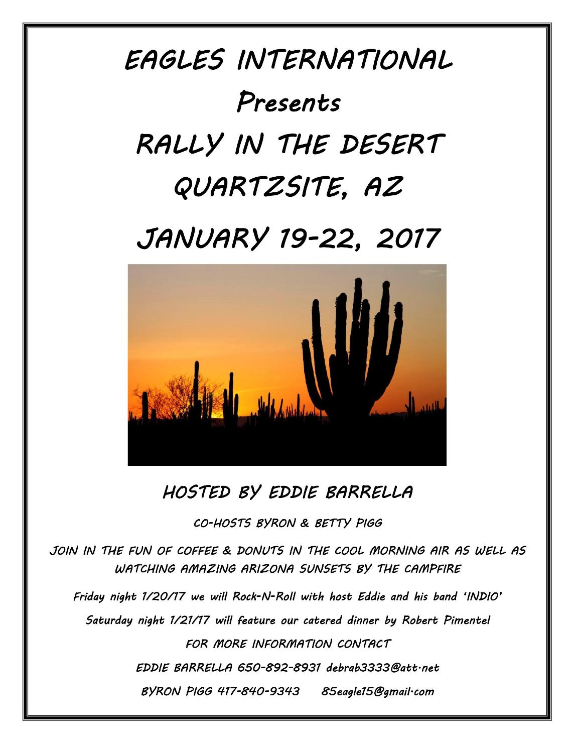 Quartzsite 2017 Rally Announcement